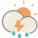day, thunderstorms, cloud, clouds, cloudy, forecast, lightning, rain, storm, sun, weather icon