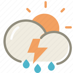 cloud, clouds, cloudy, day, forecast, lightning, rain, storm, sun, thunderstorms, weather icon
