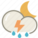 night, thunderstorms, cloud, clouds, cloudy, forecast, lightning, moon, rain, storm, weather icon