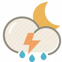 cloud, clouds, cloudy, forecast, lightning, moon, night, rain, storm, thunderstorms, weather icon