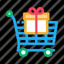 christmas, customer, gift, loyalty, present, program, trolley icon