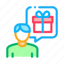 customer, gift, loyalty, man, program, thought icon