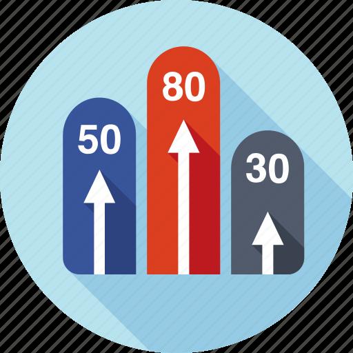 analytics, chart, diagram, marketing, report, spreadsheet, stripes icon