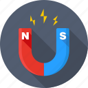 attraction, magnet, magnetic, physics, power, science, snap icon