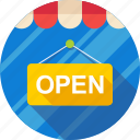 ecommerce, market, open, shop, shopping, signboard, store icon