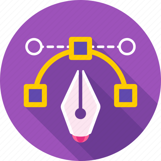 bezier, graphic, line, pen tool, shape, tool, vector shape icon