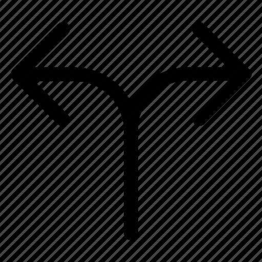 arrow, diverge, divide, path, split icon