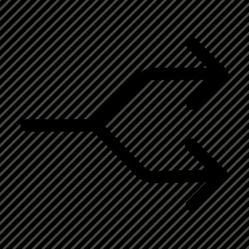 arrow, diverge, divide, flow, split icon
