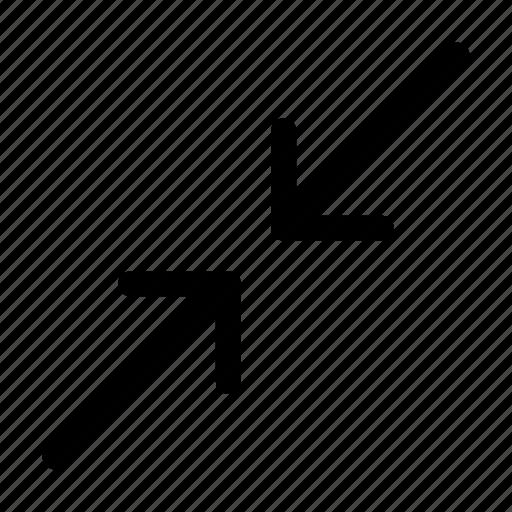arrow, converge, minimize, reduce, size icon