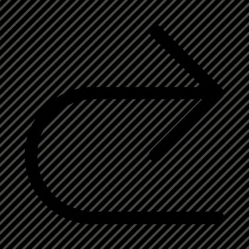 arrow, return, right, turn, u icon