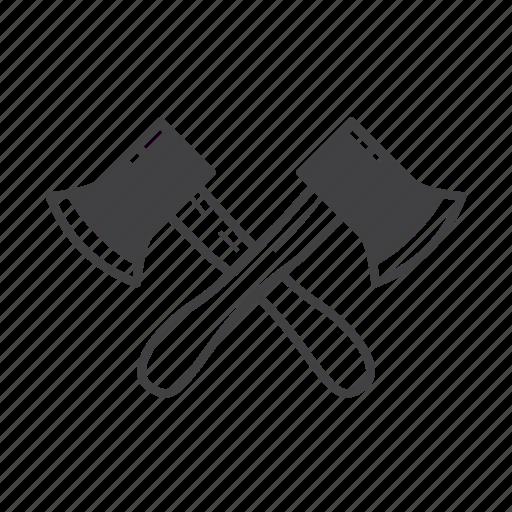 axe, axeman, cross, log, lumberjack, wood, woodcuter icon