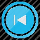 backward, media, media player, movie, multimedia, skip icon