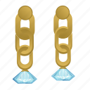 diamond, earrings, gold, jewerly icon