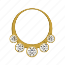 diamonds, gold, jewerly, necklace icon