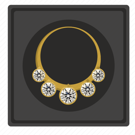 box, diamonds, gold, jewerly, necklace, presentation icon