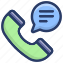 discussion, phone communication, phone conversation, speaking, talking, telecommunication icon