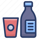 bottle with glass, drink bottle, sports bottle, water bottle, water flask icon