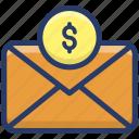 banking envelope, business letter, cash envelope, dollar note, money envelope icon