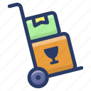 cart, handcart, luggage cart, luggage trolley, pushcart icon