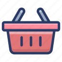 bucket, grocery basket, hamper, picnic basket, shopping basket icon