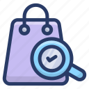 bag analysis, bag exploration, bag search, handbag monitoring, verifying shopping bag icon