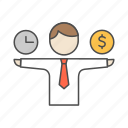 balance, budget, estimate, money, time icon