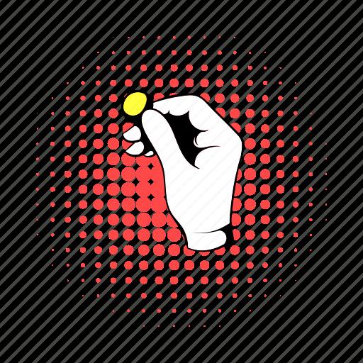 coin, comics, gold, hand, magic, magician, trick icon
