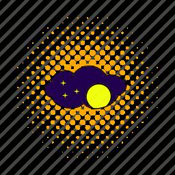 astronomy, comics, dark, full, moon, nature, night icon