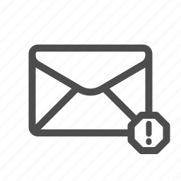 email, mail, spam, warning icon
