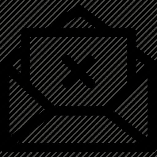 envelope, error, letter, message, open, unavailable icon