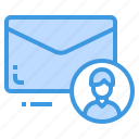 email, envelope, letter, message, profile icon