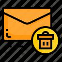 delete, email, envelope, letter, message, trash icon