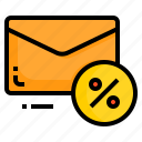 discount, email, envelope, letter, message, percentage icon