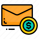 dollar, email, envelope, letter, message, money icon