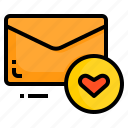 email, envelope, favorite, heart, letter, message icon