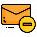 email, envelope, letter, message, minus icon