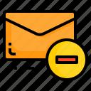 email, envelope, letter, message, minus