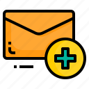 add, email, envelope, letter, message, plus icon
