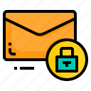 email, envelope, letter, lock, message, protect icon