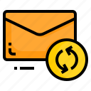 email, envelope, letter, message, recycle icon