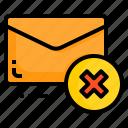 delete, email, envelope, letter, message, remove icon