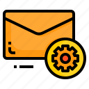 email, envelope, letter, message, setting icon