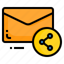 email, envelope, letter, message, share icon