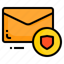 email, envelope, letter, message, protect, shield icon