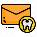 dental, email, envelope, letter, message, tooth icon