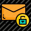 email, envelope, letter, message, unlock