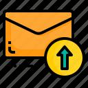 email, envelope, letter, message, upload icon