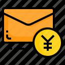 email, envelope, letter, message, money, yen icon