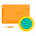 email, envelope, letter, message, world icon
