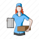 courier, delivery, girl, logistics, parcel, postman, service